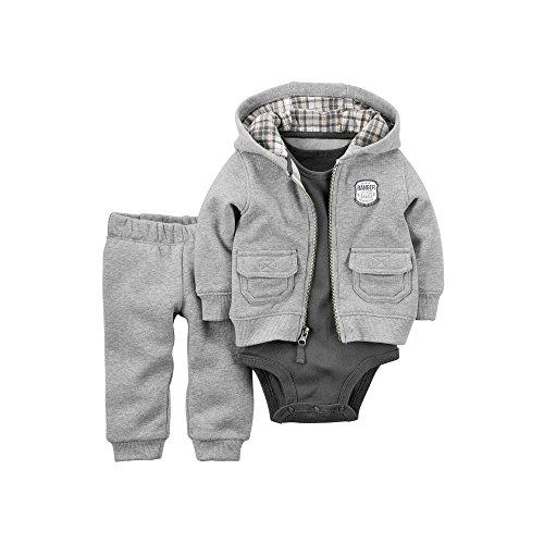 Carter's Baby Boy's 3-Piece Hooded Fleece Cardigan Set - 3 Months