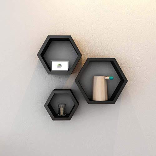 Planet Expo Hexagon Shape Wall Shelf  Black    Set of 3