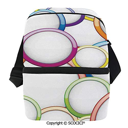 SCOCICI Reusable Insulated Grocery Bags Abstract Chained Colorful Bubbles and Circles Round Patterns Contemporary Art Home Decor Thermal Cooler Waterproof Zipper Closure Keeps Food Hot Or -