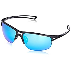 adidas Raylor 2 L Non-Polarized Iridium Oval Sunglasses, Shiny Black, 65 mm