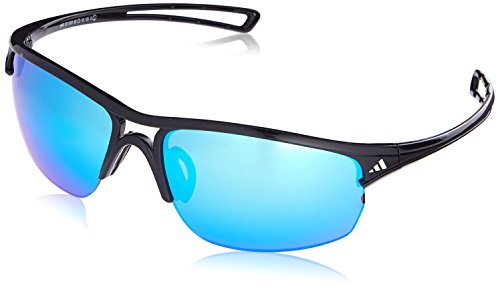 1cd7eb7910 adidas Raylor 2 L Non-Polarized Iridium Oval Sunglasses, Shiny Black, 65 mm