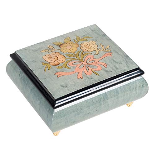 Floral Light Blue Italian Inlaid Wood Jewelry Music Box Plays Romeo and Juliet