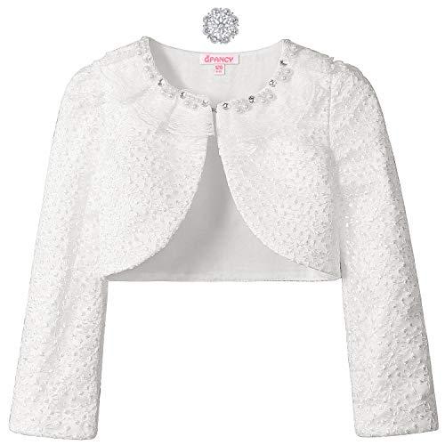 White Shrugs for Little Girls Pearl Cotton Bolero Cardigan for Little Kids