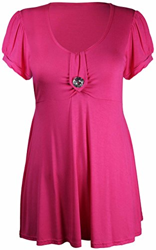Ronde Femme Rose Purple Manche Tunique Grande Bouton Broche Courte Cerise Taille Encolure Hanger RWTZTqn8