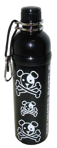 Good Life Gear Stainless Steel Pet Water Bottle, 24-Ounce, Black Puppy Pirate Design