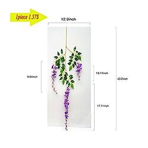 14 Pack 3.6 Feet/Piece Artificial Silk Wisteria Vine Ratta Hanging Flowers Party Wedding Decor (Purple) 2