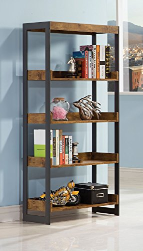 coaster estrella industrial antique nutmeg bookcase with 4 open shelves