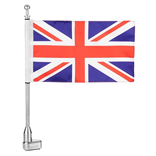 Motorcycle United Kingdom British Union Jack Flag Pole Luggage Rack Mount - Motorcycle Motorcycle DIY Kits - (Silver) - 1 X Motorcycle United Kingdom British Union Jack Flag With Flag