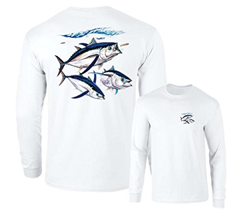 (Albacore Tuna Fish Salt Water Fishing Long Sleeve T-Shirt, White, XL)