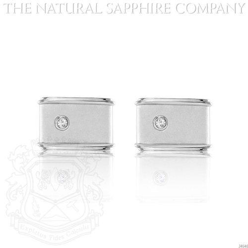 White Sapphire Silver Cufflinks. (J4646) - Sapphire White Cufflinks