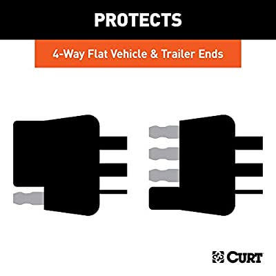 CURT 58761 Vehicle-Side and Trailer-Side 4-Way Flat Trailer Wiring Harness Dust Covers, 4-Pin Trailer Wiring: Automotive