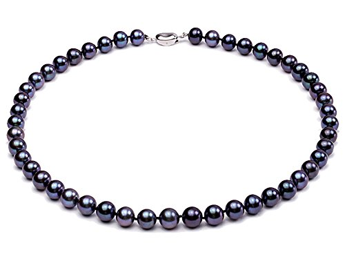 JYX Pearl Necklace Bracelet Set AAA Elegant 8-9mm Round Black Freshwater Cultured Pearl Necklace Bracelet Set for Women (Necklace)