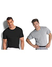 Men's Stay Tucked Crew T-Shirt (XXXX-Large, Black & Grey)