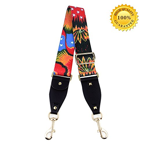 Myathle 2 Wide Purse Strap Replacement Guitar Style Colorful Canvas Adjustable 35- 51 Crossbody Bag Straps for Handbags