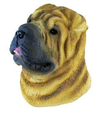 Thai Magnet Dog Big Head Brown Shar-Pei Bangkok Thailand Souvenir 3D Hand Made Craft