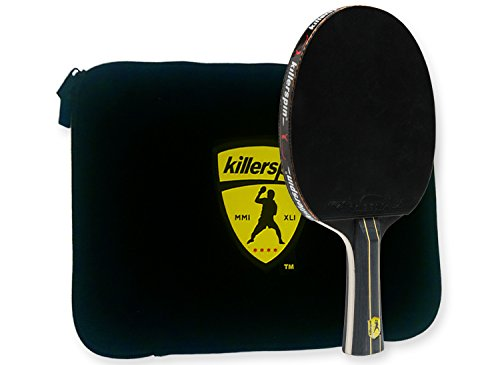 Killerspin Jet Black Ping Pong Racket Combo Intermediate Table Tennis Bat 5 Layer Wood Blade, Nitrx-4Z Rubbers, Flare Handle Competition Ping Pong Racket Protective Storage Case Sleeve