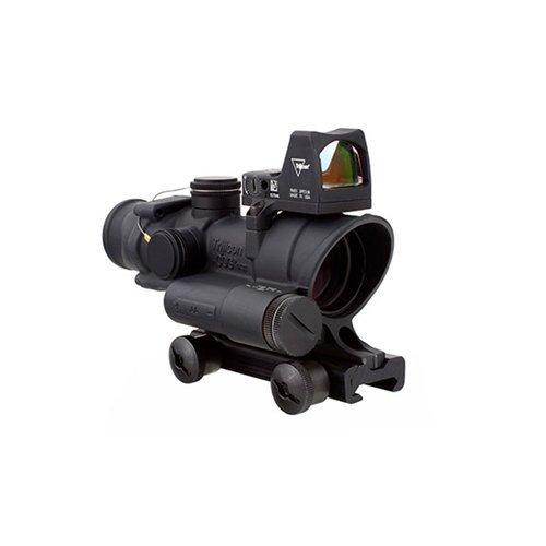 Combat Optical Advanced Acog Gun (Trijicon ACOG 4 x 32 LED Scope Battery Illuminated Red Crosshair Rifle Scope with TA51 Mount RMR RM01 Combo)
