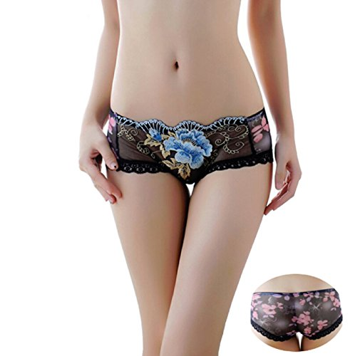NEW! Sexy hollow out women panties embroidered S-XL lingerie transparent lace printing briefs underwear for girl (M, Black)