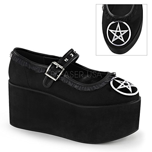 Mary DEMONIA Platform Buckle Embroidery Shoes 2 CLICK Pentagram 02 White Jane Hq6FwaH
