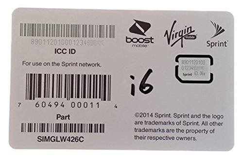 SIMGLW436C Sprint Boost Virgin Ting RingPlus Nano SIM ICCID for iPhone 6 and 6 Plus ONLY