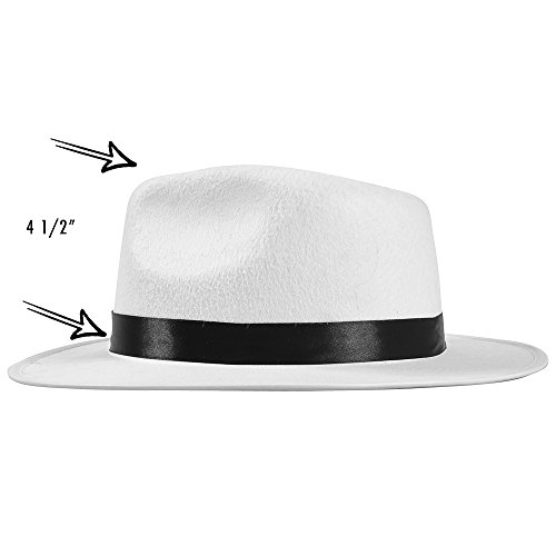50c6020f6 White Felt Fedora Gangster Hat - Mobster Costume Hats by Funny Party Hats