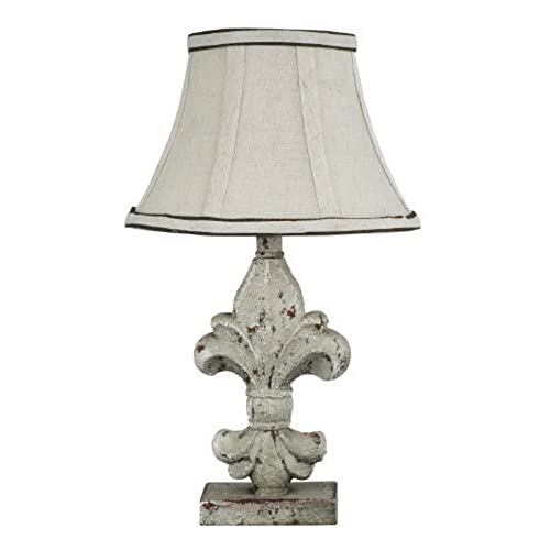 Shabby chic table lamps amazon ahs lighting l2073a up1 fleur de lis acccent lamp off white mozeypictures Images