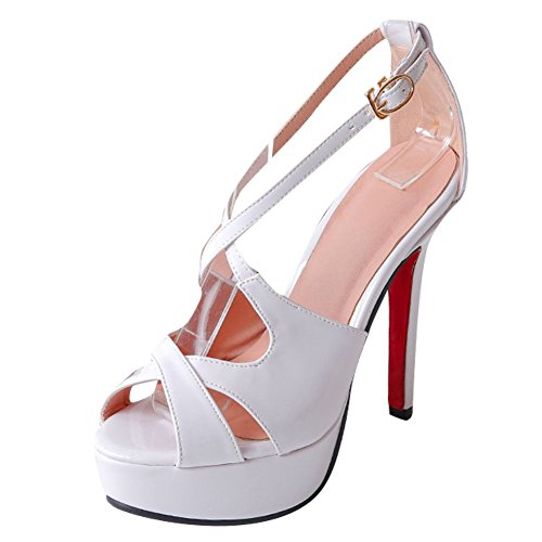 Mee Shoes Damen Stiletto Plateau open toe Sandalen Weiß
