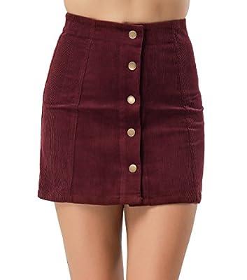 Clarisbelle Women High Waist Single Breasted Corduroy Skirt