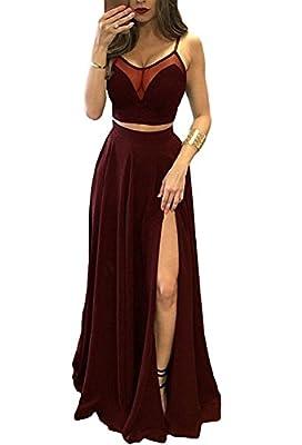 alilith.Z Sexy Spaghetti Strap Slit 2 Piece Ruffles Chiffon Bridesmaid Dresses Long Prom Dresses For Women