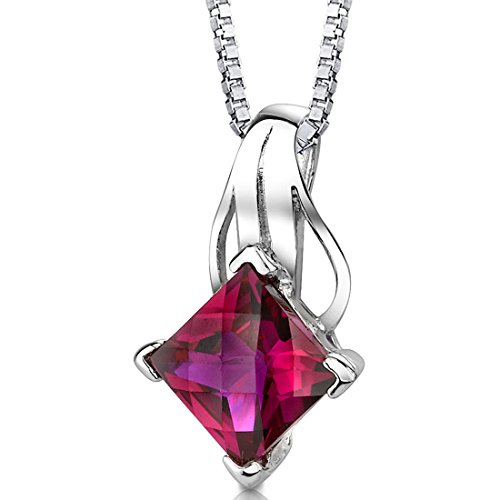 - Created Ruby Pendant Necklace Sterling Silver Princess Checkerboard Cut