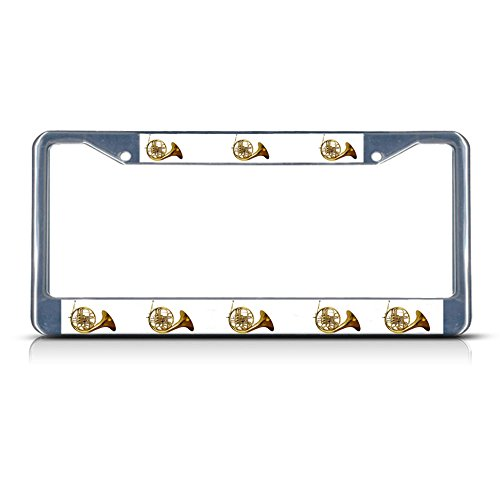 Sign Destination Metal License Plate Frame Solid Insert French Horn Musical Instrument Car Auto Tag Holder - Chrome 2 Holes, Set of - Horns Instrument Musical
