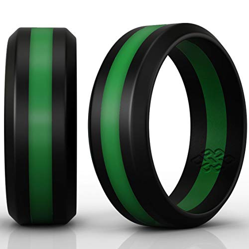 Premium Golf Award - Green Silicone Wedding Ring Band for Men Army: Size 12 Superior 8mm Rubber Rings - Premium Quality, Style, Safety, Comfort - Ideal Bands for Gym, Safe for Work, Hunting, Sports, and Travels