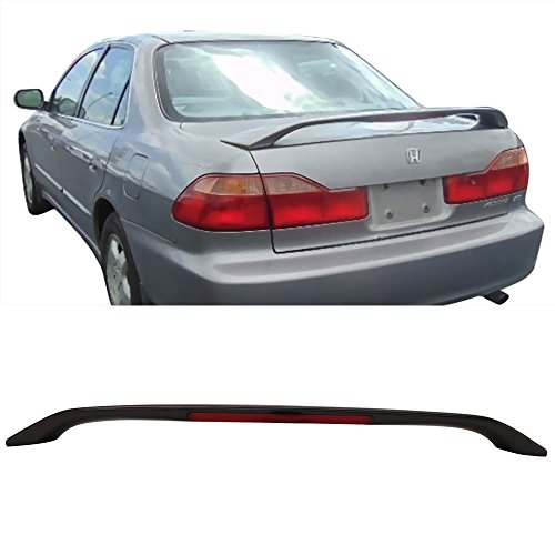 Trunk Spoiler Fits 1998-2002 Honda Accord | Factory Style Unpainted Black ABS Added On Rear Deck Lip Wing Bodykits by IKON MOTORSPORTS | 1999 2000 2001 02 Rear Spoiler Wing