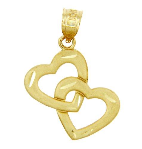 Petits Merveilles D'amour - 14 ct Or 585/1000 - Deux Or Pendentif Cœur