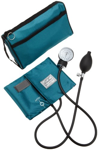 ADC Prosphyg 768 Pocket Aneroid Sphygmomanometer with Adcuff Nylon Blood Pressure Cuff, Adult, and Carrying Case, Teal -
