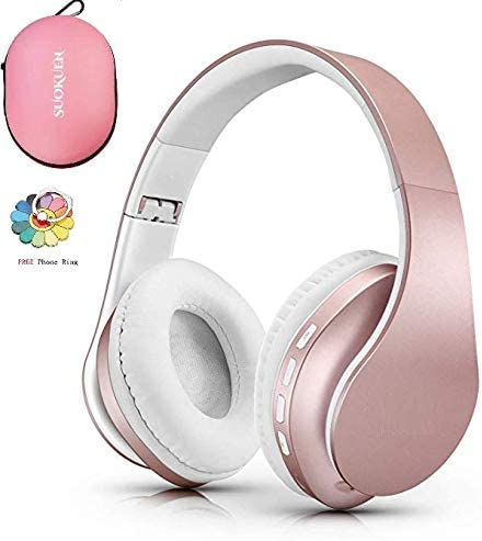 Bluetooth Headphones Over Ear, Hi-Fi Stereo Wireless Headset, Foldable, Soft Memory-Protein Earmuffs, w Built-in Mic and Wired Mode for PC Cell Phones TV Pink with Case