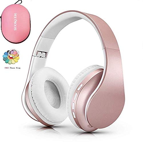 Bluetooth Headphones Over Ear, Hi-Fi Stereo Wireless Headset, Foldable, Soft Memory-Protein Earmuffs, w/Built-in Mic and Wired Mode for PC/Cell Phones/TV (Pink with Case)