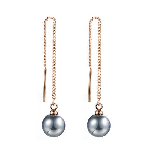 Dangle Pearl Earrings,18K Rose Gold Plated Drop Earrings 10mm,Freshwater Cultured Shell Pearl Earring Dangle Studs,Women's Imitation Pearl Long Earrings (Rose gold-black pearl)
