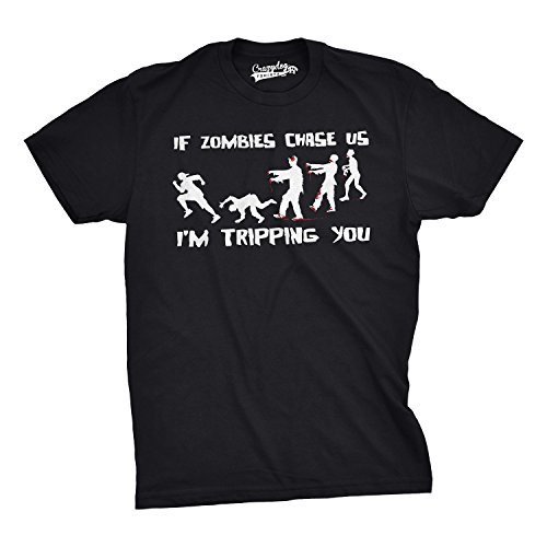 Youth Zombies Chase Us Tripping Funny Zombie T shirts Living Dead Novelty T shirts Gag Gift (Black) M