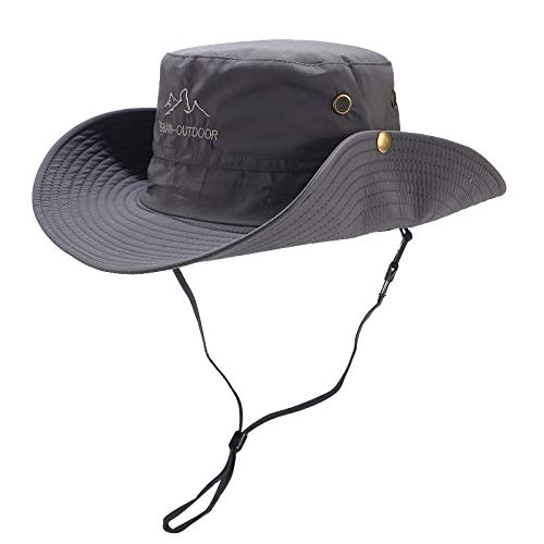 Yucode Summer Wide Brim Sun Hat Outdoor Sun Hat Protection Bucket Cap Solid Adjustable Fishing Hat Dark Gray]()
