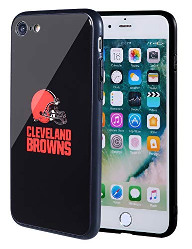 Sportula NFL Phone Case - 9H Tempered Glass Back Cover and Silicone Rubber Bumper Frame Compatible Apple iPhone 8 / iPhone 7 (Cleveland Browns)