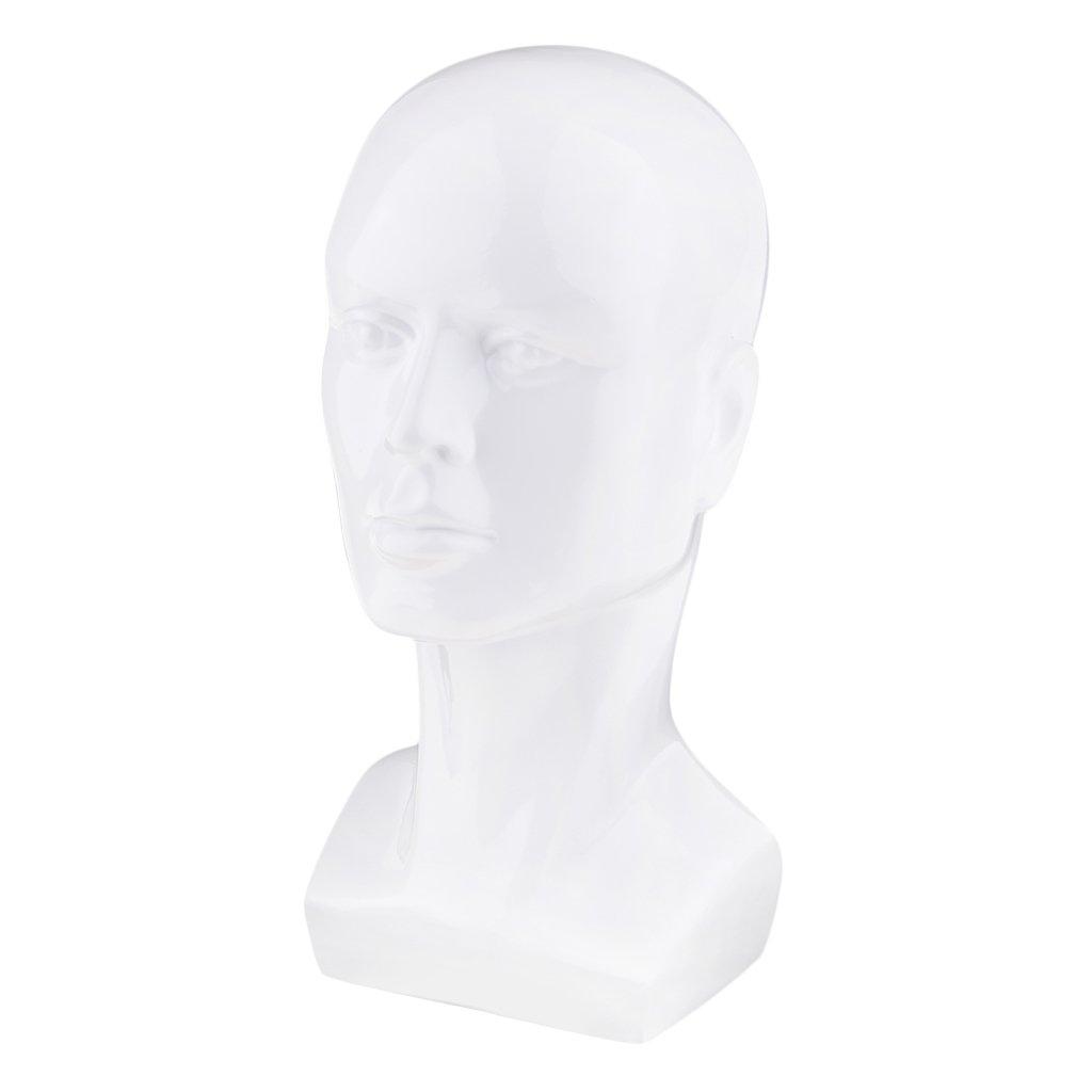 Baoblaze Cabeza Maniquí de Hombre Soporte de Peluca Sombrero Auriculares Gafas Joya, Blanco