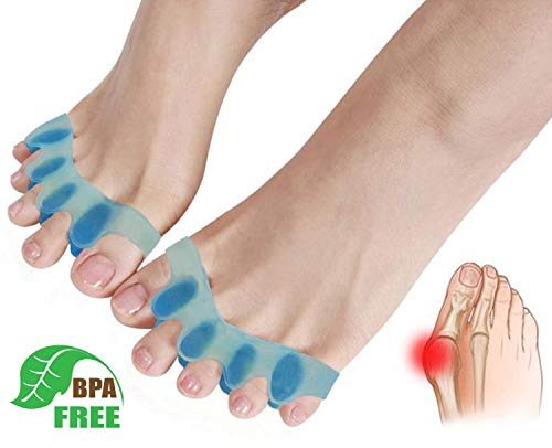 Gel Toe Separators,Toe Stretchers Toe Spacers for Cushioning and Relieve Bunion Pain Rubber Toe Straightener Achilles Stretcher for Men and Women (1 ()