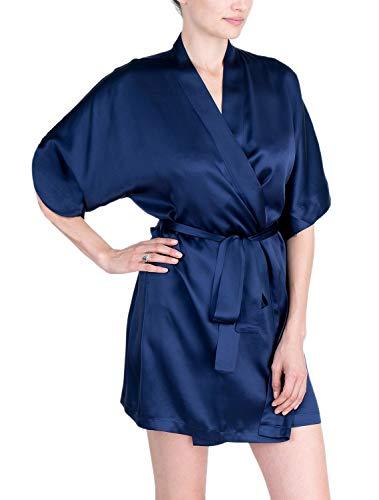 OSCAR ROSSA Women's Luxury Silk Sleepwear 100% Silk Sexy Short Robe Kimono Midnight -