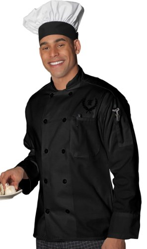Ed Garments 10 Pearl Button Classic Full Cut Chef Coat, BLACK, ()