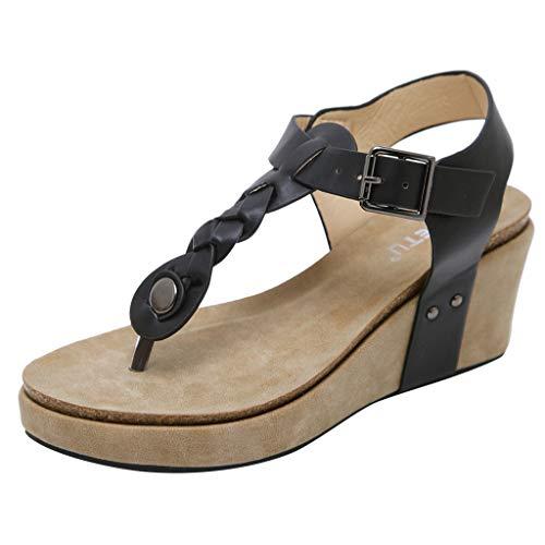 (JUSTWIN Ladies' Toe Wedge Sandals Women's Casual Flip Flops Buckle Strap Platforms Shoes Black)