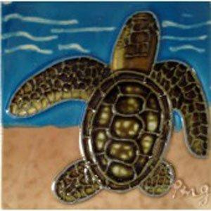 - Sea Turtle on the Beach Decorative Ceramic Wall Art Tile 4x4
