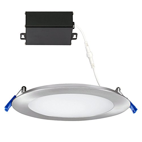 (GetInLight Slim Dimmable 6 Inch LED Recessed Lighting, Round Ceiling Panel, Junction Box Included, 3000K(Soft White), 12W, 900lm, Brushed Nickel Finished, cETLus Listed,)