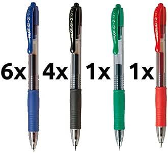 Boligrafo pilot g2 pack 12 u.(6 azules,4 negros,1 rojo,1 verde): Amazon.es: Oficina y papelería