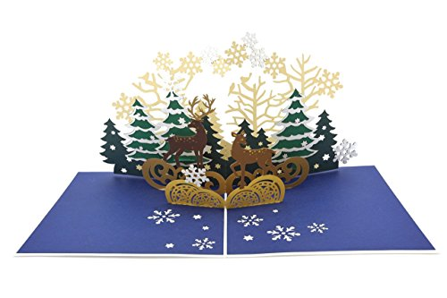 PopLife Reindeer in the Forest Pop Up Holiday Card - Gold Embossed Christmas - Card Embossed Christmas